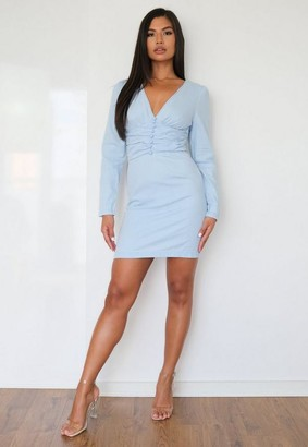 Missguided Light Blue Gathered Waist Detail Denim Dress