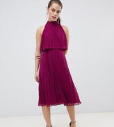 Asos DESIGN Petite halter tie neck midi dress in pleat