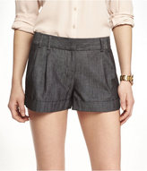 Express 2 1/2 Inch Pleated Cuffed Chambray Shorts