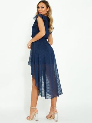 Quiz Dobby Mesh Wrap Front Midi Dress - Navy