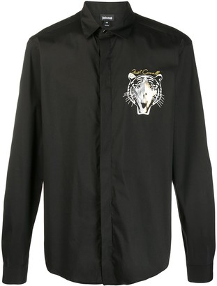 Just Cavalli Buttoned Tiger Embroidered Shirt