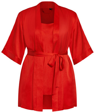 City Chic Satin Chemise & Robe Set - red