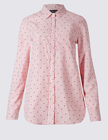 M&S Collection Pure Cotton Embroidered Spot Striped Shirt