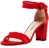 Stuart Weitzman Frayed Satin Chunky-Heel Sandal
