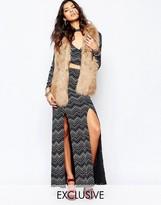 Reclaimed Vintage High Rise Split Front Maxi Skirt In 70's Zig Zag