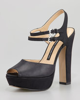 French Connection Gabby Ankle-Wrap Platform Sandal, Black