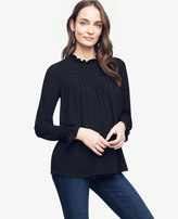 Ann Taylor Smocked Ruffle Collar Blouse