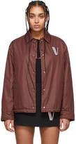 Valentino Burgundy Button Down Poplin Jacket