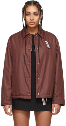 Valentino Burgundy Button Down Poplin Jacket