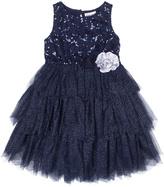 Little Lass Navy Tiered Empire-Waist Dress - Toddler & Girls