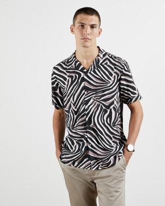 Ted Baker TOYZ Lyocell animal print revere collar shirt