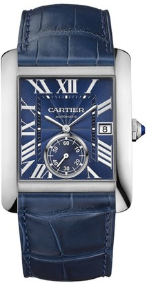Cartier Tank MC Stainless Steel & Blue Alligator-Strap Watch