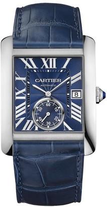 Cartier Tank MC Stainless Steel & Blue Alligator-Strap Watch