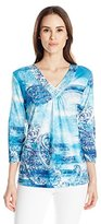 Alfred Dunner Women's Watercolor Paisley V-Neck Shirt