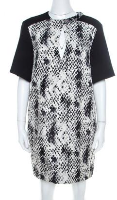 Ungaro Textured Python Print Embellished Neck Detail Draped Shift Dress S
