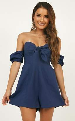 Showpo Sweeter Than You Playsuit in navy linen look - 6 (XS) Playsuits