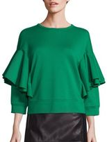 No.21 NO. 21 Ruffle Overlay Solid Blouse