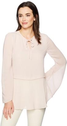 Ellen Tracy Women's Textured Mixed Media Full Sleeve Blouse
