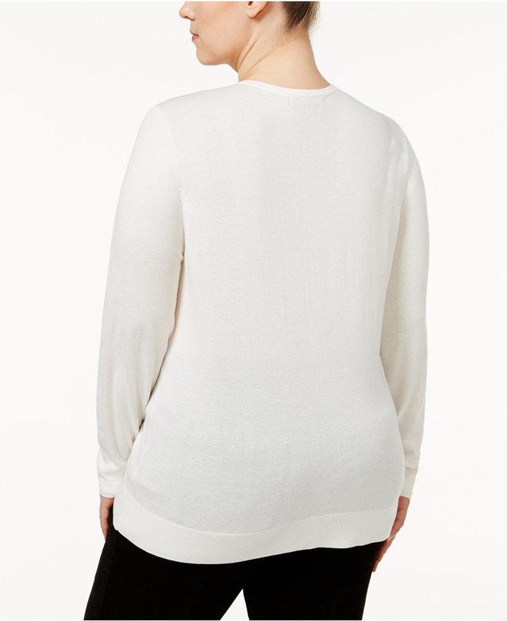 August Silk Plus Size Ruffled Cardigan