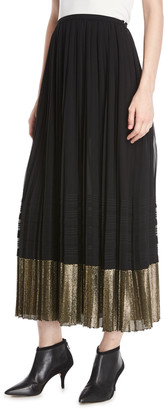 Derek Lam A-Line Pleated Plisse Long Skirt w/ Metallic Hem