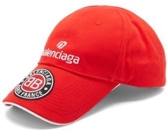 Balenciaga Logo-embroidered Cotton-twill Cap - Red