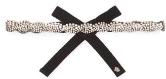Rosantica Chevron Crystal-embellished Ribbon Headband - Black Multi