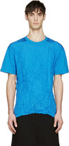 McQ by Alexander McQueen Blue Wrinkled T-shirt