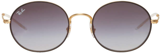 Ray-Ban Gold and Grey Metal Round Sunglasses