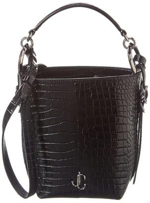 Jimmy Choo Varenne Croc-Embossed Leather Bucket Bag
