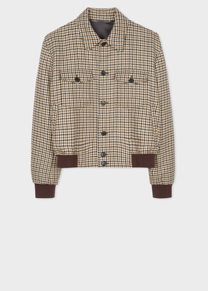 Men's Brown Houndstooth Tweed Bomber Jacket