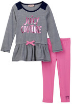 Juicy Couture Lace Shoulder Striped Peplum Tunic & Pant Set (Toddler Girls)