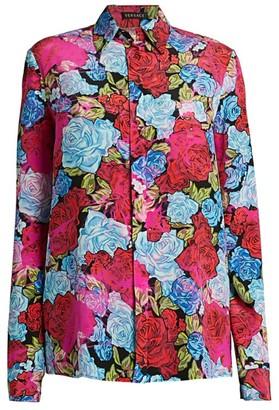 Versace Tie-dye Rose Print Button-Down Silk Shirt