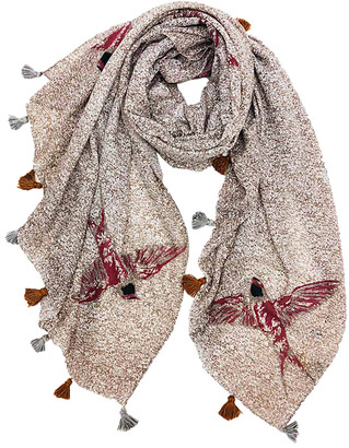 Jc Sunny JC Sunny Women's Accent Scarves - Burgundy Bird Scarf - Women