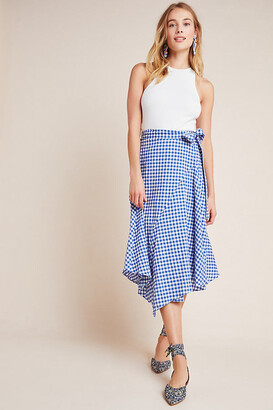 Maeve Glenna Gingham Midi Skirt By in Blue Size 0