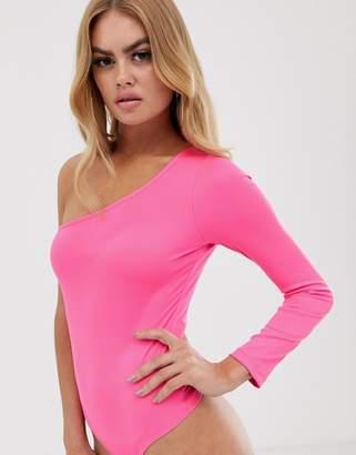 Asos Design DESIGN one shoulder long sleeve body-Pink