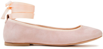 French Sole Margot Grosgrain-trimmed Suede Ballet Flats