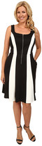 ABS by Allen Schwartz Plus Size Two-Tone Zipper Front Fit and Flare