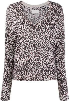 Zadig & Voltaire Brume leopard-print cashmere jumper