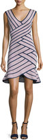 Herve Leger Millie Sleeveless Striped Flounce Dress, Dusty Azalea/Navy