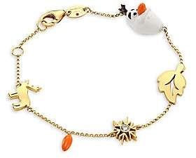Roberto Coin Women's Disney's Frozen 2 x 18K Yellow Gold & Diamond Charm Bracelet
