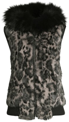 Jocelyn Savage Love Fox Fur-Trim Leopard-Print Rabbit Fur Vest
