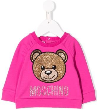 MOSCHINO BAMBINO Rhinestone Bear Sweatshirt