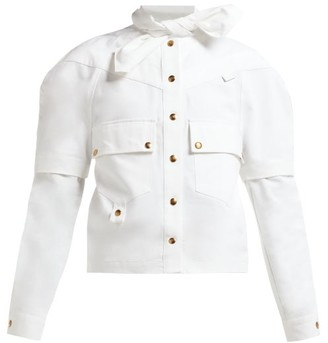 Symonds Pearmain - Tie-neck Cotton Cargo Shirt - White