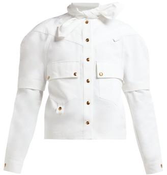 Symonds Pearmain - Tie Neck Cotton Cargo Shirt - Womens - White