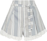 Zimmermann Havoc lace-trimmed striped cotton and silk-blend shorts