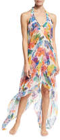 Milly Katrina Banana Leaf Chiffon Coverup Dress, Multicolor