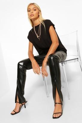 boohoo Super Stretch Leather Look Split Front Leggings