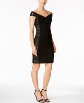 Calvin Klein Sequined Mesh Off-The-Shoulder Dress