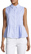 Glamorous Sleeveless Striped Poplin Peplum Blouse