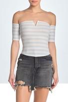 Wild Honey Stripe Rib Knit Off-Shoulder Shirt